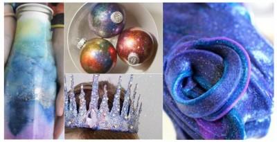 Manualidades con pegamento con purpurina brillante de colores